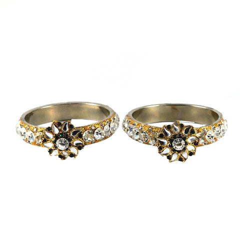 White Color Stone Stud Brass Bangle - ban1469