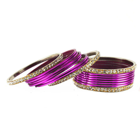 Dark Rani Color Stone Stud Brass Bangle - ban1486