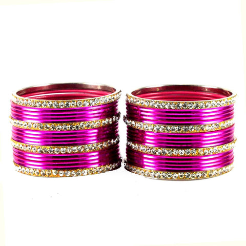 Dark Pink Color Stone Stud Brass Bangle - ban1493