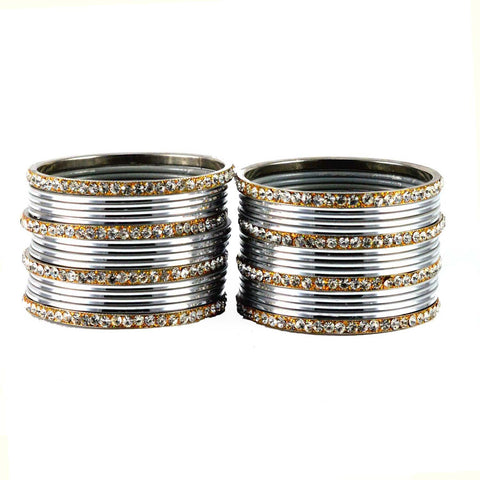 Silver Color Stone Stud Brass Bangle - ban1494