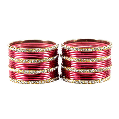 Gajari Color Stone Stud Brass Bangle - ban1496