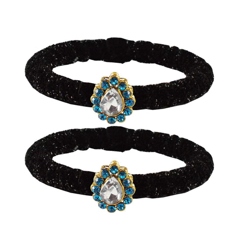 Black Color Brass Stone Stud Bangle - ban2169