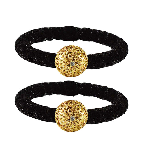 Black Color Brass Stone Stud Bangle - ban2171