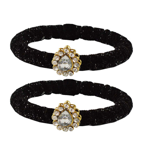 Black Color Brass Stone Stud Bangle - ban2172