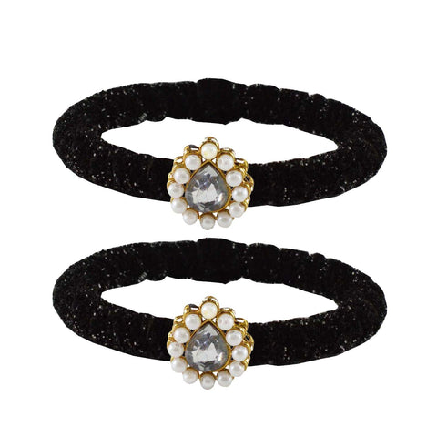 Black Color Brass Stone Stud Bangle - ban2177