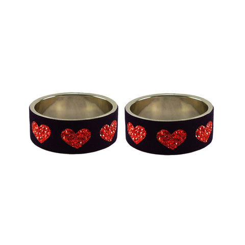Black Color Brass Stone Stud Bangle - ban7388