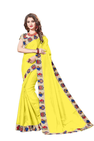 Yellow Color Lace Border  Chanderi Cotton Saree - bf5127yellow
