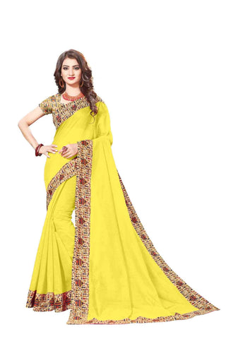 Yellow Color Lace Border  Chanderi Cotton Saree - bf5128yellow