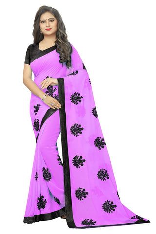 Baby Pink Color Embroidered Faux georgette Saree - bf5241babypink