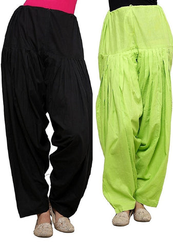 COMBOS  - Black And Green Color Cotton Stitched Women Patiala Pants - black_green