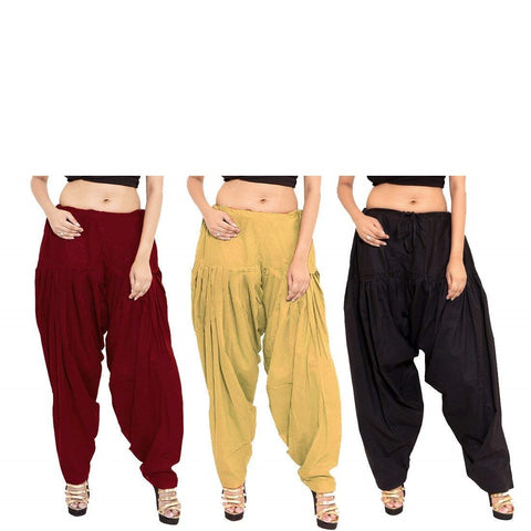 COMBOS  - Black And Maroon And Beigee Color Cotton Stitched Women Patiala Pants - black_maroon_beigee