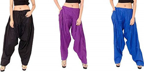 COMBOS  - Black And Purple And Royal Color Cotton Stitched Women Patiala Pants - black_purple_royal