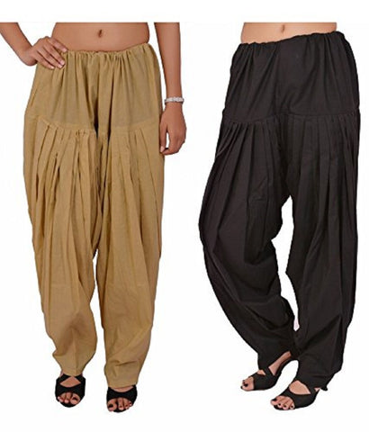 COMBOS  - Black And Skin Color Cotton Stitched Women Patiala Pants - black_skin