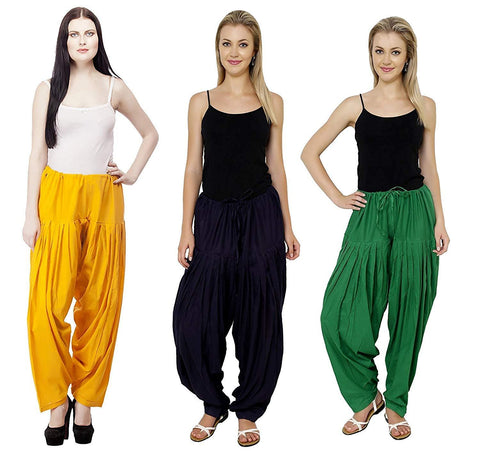 COMBOS  - Black And Yellow And Green Color Cotton Stitched Women Patiala Pants - black_yellow_green