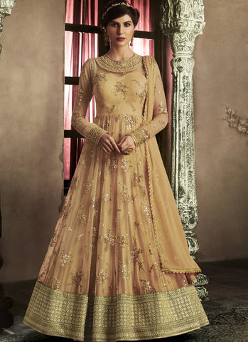 Gold Color Net Semi-Stitched Salwar - emotive-11059