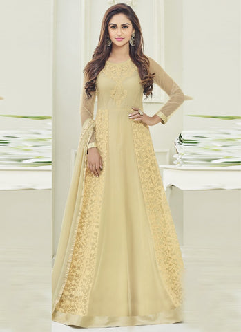Gold Color Apple Georgette Semi Stitched Salwar - kierra-29005