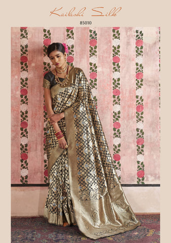 Beige And Black Color Blend Saree - KLSHIS85010