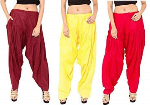 COMBOS  - Maroon And Yallow And Red Color Cotton Stitched Women Patiala Pants - maroon_yallow_red