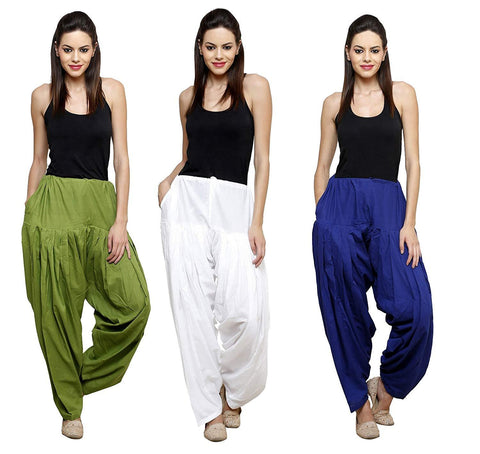 COMBOS  - Mehendi And White And Blue Color Cotton Stitched Women Patiala Pants - mehendi_white_blue