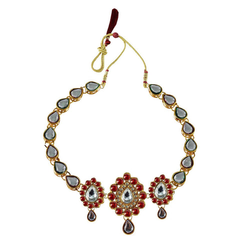 Red Color Stone Stud-Gold Platted Brass Necklace - nec1085