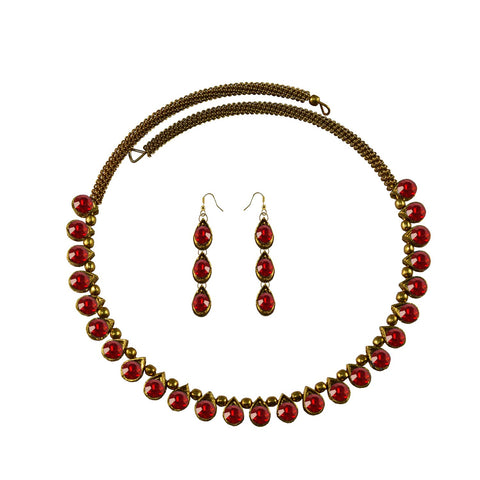 Red Color Stone Stud-Gold Platted Brass Necklace Set - nec1629