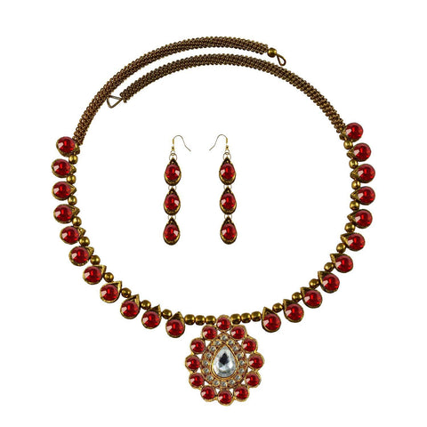 Red Color Stone Stud-Gold Platted Brass Necklace Set - nec1973