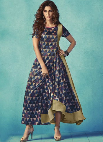 Navy Blue Color Apple Georgette With Japan Satin Stitched Kurti - palchu4-1038
