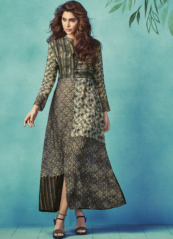 Grey Color Apple Georgette With Japan Satin Stitched Kurti - palchu4-1039