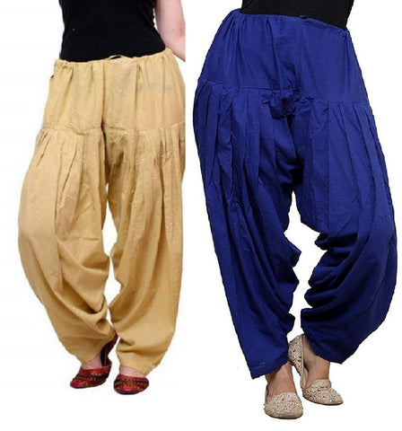 COMBOS  - Skin And Blue Color Cotton Stitched Women Patiala Pants - skin_blue