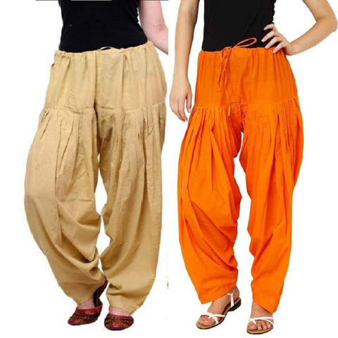 COMBOS  - Skin And Orange Color Cotton Stitched Women Patiala Pants - skin_orange