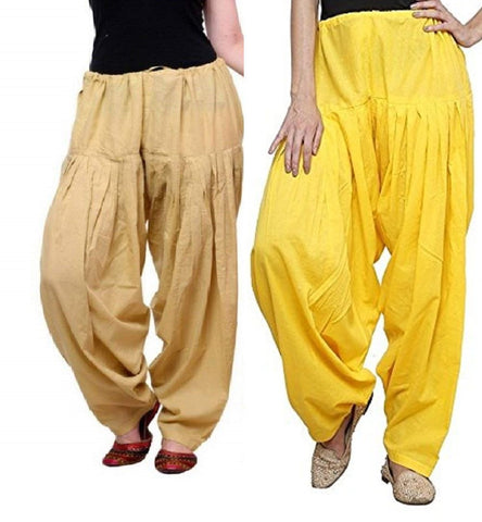 COMBOS  - Skin And Yellow Color Cotton Stitched Women Patiala Pants - skin_yellow