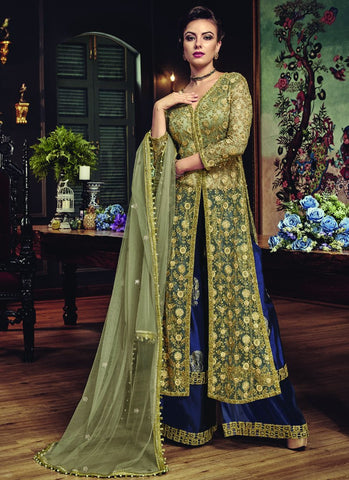 Multi Color Premium Net Semi-Stitched Salwar - snowwhite-5812
