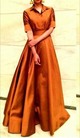 Orange Color Taffeta Dress - spk017