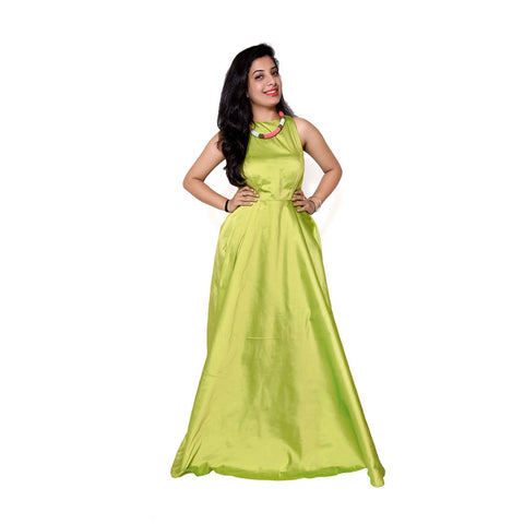 Green Color Taffeta Dress - spk026