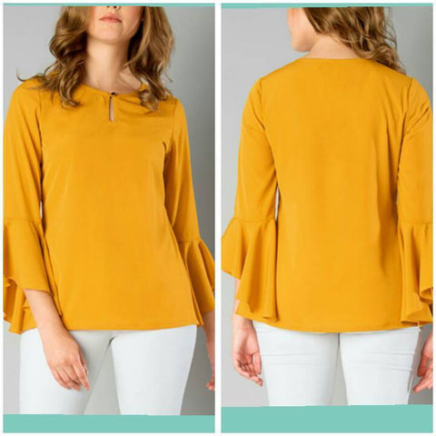 Mustard Color Crepe Top and Tee - sptp009