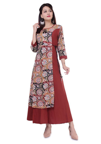 Brick Red Color Cotton Stitched Long Kuta - vo183