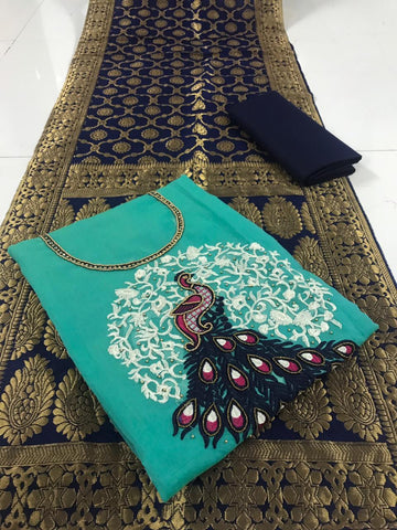 Sky Blue Color Chanderi Cotton Unstitched Salwar - vol001-3Sky Blue