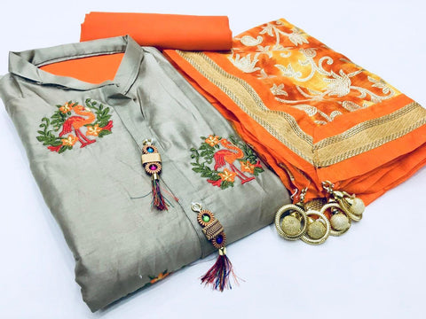 Grey Color Cotton Unstitched Salwar - vol006-grey