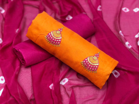 Orange Color Chanderi Cotton Unstitched Salwar - vol008-3orange