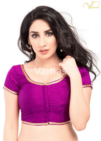 Purple Color Dupion Silk Stitched Blouse - x-193sl-purple