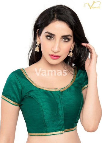 Rama Green Color Dupion Silk Stitched Blouse - x-193sl-rama-green
