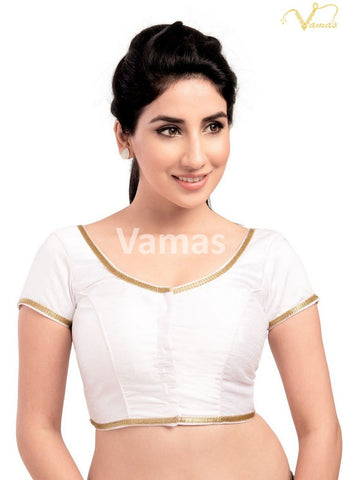 White Color Dupion Silk Stitched Blouse - x-193sl-white