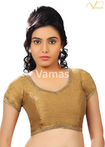 Copper Color Dupion Silk Stitched Blouse - x-203-copper