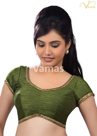 Mehendi- Green Color Dupion Silk Stitched Blouse - x-203-mehandi-green