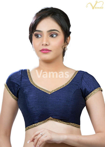 Navy Blue Color Dupion Silk Stitched Blouse - x-203-navy-blue