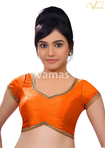 Orange Color Dupion Silk Stitched Blouse - x-203-orange