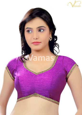 Purple Color Dupion Silk Stitched Blouse - x-203-purple