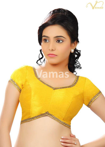 Yellow Color Dupion Silk Stitched Blouse - x-203-yellow