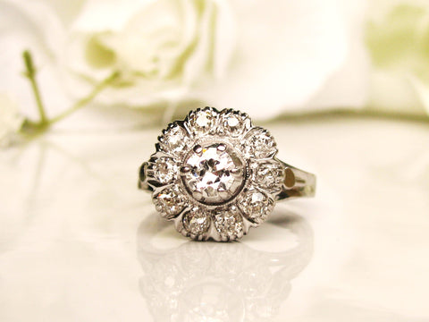 Antique Halo Engagement Ring 0.80ctw Old Cut Diamonds Art Deco Engagement Ring 14K White Gold Daisy Diamond Wedding Ring!