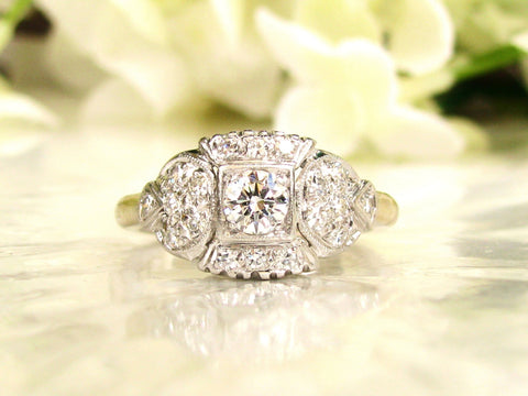 Art Deco Engagement Ring 0.68ctw Diamond Platinum & 14K White Gold Transitional Cut Antique Engagement Ring Adjustable Band with Appraisal!